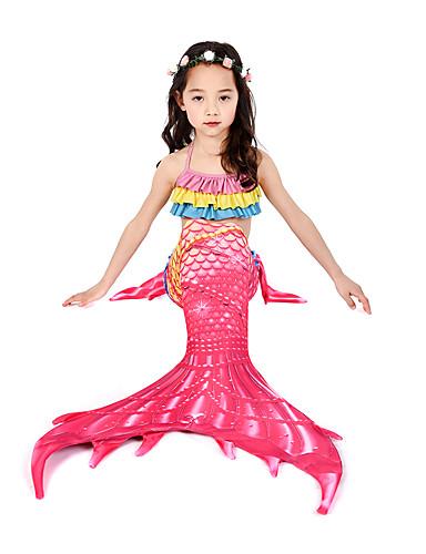 คอสเพลย์และคอสตูม ชุดว่ายน้ำ บีกีนี่ The Little Mermaid หางนางเงือก Aqua Princess สำหรับเด็ก Lycra® คอสเพลย์และคอสตูม Mermaid and Trumpet Gown Slip คอสเพลย์ ทับทิม เงือก / Top