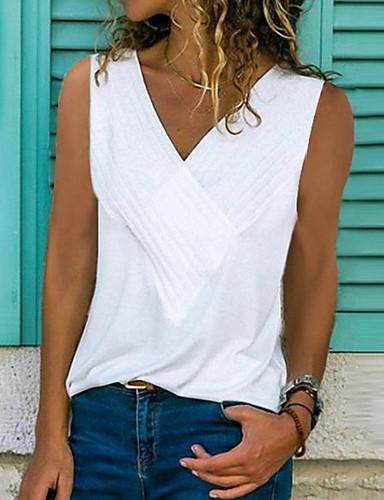 สำหรับผู้หญิง ขนาดพิเศษ เสื้อกล้าม ระบาย คอวี สีพื้น สีเทา / ฤดูใบไม้ผลิ / ฤดูร้อน / ตก
