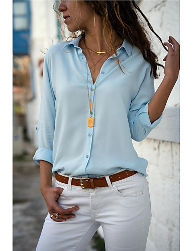 billige Topper til damer-Skjortekrage Bluse Dame - Ensfarget Grå