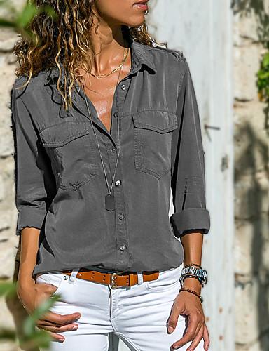 billige Skjorter til damer-Bomull Skjortekrage Skjorte Dame - Ensfarget, Lapper Gatemote Grå