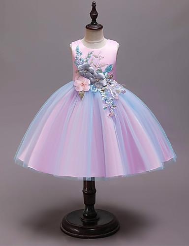 נסיכה באורך  הברך שמלה לנערת הפרחים  - כותנה / סאטן / טול ללא שרוולים עם תכשיטים עם אפליקציות / ריקמה / חגורה על ידי LAN TING Express