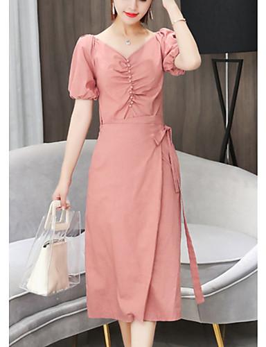 528db0b4eb Mujer Elegante Línea A Vestido Un Color Midi 7231800 2019 –  26.99