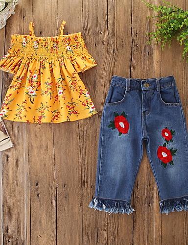 เด็ก Toddler เด็กผู้หญิง ซึ่งทำงานอยู่ พื้นฐาน ลายดอกไม้ พู่ ลายพิมพ์ แขนสั้น ปกติ ฝ้าย ชุดเสื้อผ้า ส้ม