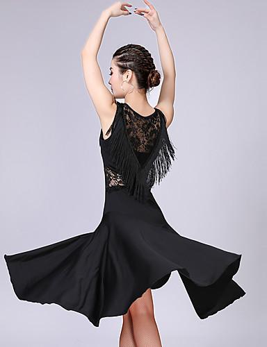 levne Shall We®-Latinské tance Šaty Dámské Trénink / Výkon Polyester / Spandex Krajka / Třásně Bez rukávů Vysoký Šaty