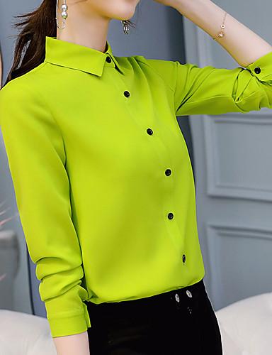 billige Dametopper-Skjorte Dame - Ensfarget Lysegrønn