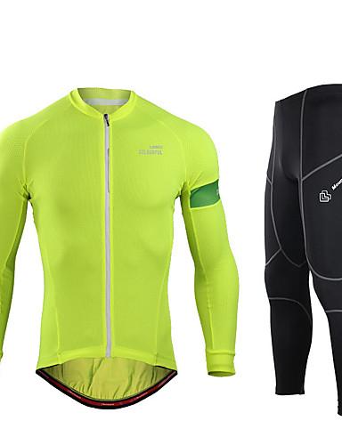 povoljno Odjeća za vožnju biciklom-Muškarci Dugih rukava Biciklistička majica s tajicama Mineral Green Pink Ljubičasta Bicikl Sportska odijela UV otporan Prozračnost Ovlaživanje Quick dry Sportski Spandex Moda Brdski biciklizam