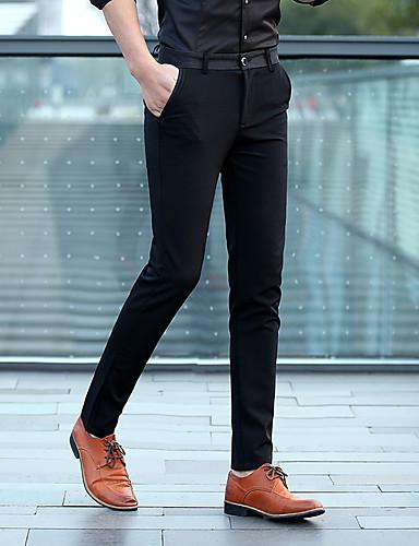 สำหรับผู้ชาย พื้นฐาน เพรียวบาง สูท / กางเกง Chinos กางเกง - สีพื้น เอวต่ำ สีดำ สีน้ำเงินกรมท่า 34 36 38
