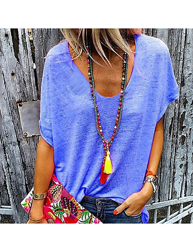 billige T-skjorter til damer-Løstsittende V-hals T-skjorte Dame - Ensfarget Rosa