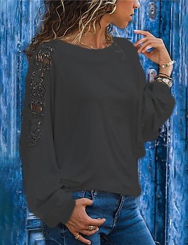 billige Dametopper-Løstsittende Store størrelser T-skjorte Dame - Ensfarget, Lapper Svart