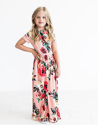 069949425f32 Kids Girls' Sweet / Cute Floral Print Short Sleeve Maxi Cotton Dress  Blushing Pink 7279394 2019 – $13.96