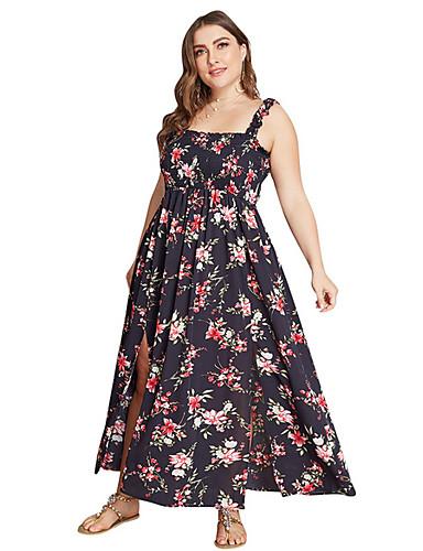 levne Šaty velkých velikostí-Dámské Elegantní Swing Šaty - Květinový, Rozparek Maxi