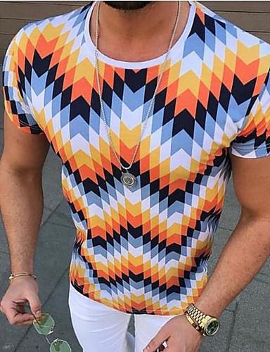 สำหรับผู้ชาย ขนาดของยุโรป / อเมริกา เสื้อเชิร์ต คอกลม เพรียวบาง รูปเรขาคณิต ส้ม