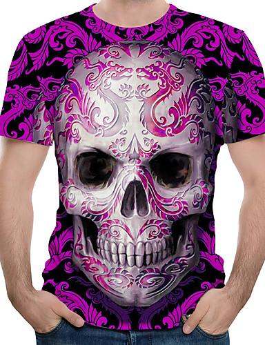 สำหรับผู้ชาย ขนาดของยุโรป / อเมริกา เสื้อเชิร์ต ลายพิมพ์ คอกลม ลายบล็อคสี / 3D / กระโหลก ทับทิม