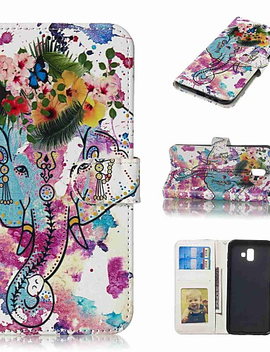 Case สำหรับ Samsung Galaxy J5 (2017) / J3 (2017) / J3 (2016) Wallet / Card Holder / Flip ตัวกระเป๋าเต็ม สัตว์ / ดอกไม้ Hard หนัง PU