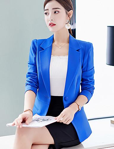 voordelige Damesblazers & jasjes-Dames Blazer, Effen Ingesneden revers Polyester / Spandex Blozend Roze / Licht Blauw / Marine Blauw