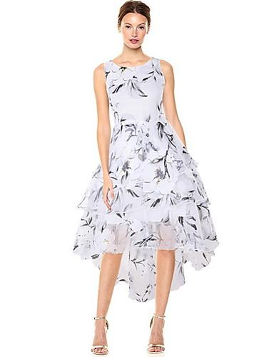 Жен. Элегантный стиль А-силуэт Платье - Цветочный принт, С принтом Ассиметричное