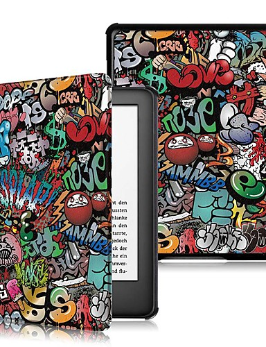 Case สำหรับ Amazon Kindle Lite (2019) / Kindle PaperWhite 4 / โคโบ Forma Shockproof / Flip / Origami ตัวกระเป๋าเต็ม Word / Phrase Hard หนัง PU