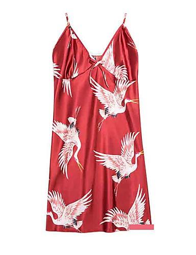 สำหรับผู้หญิง ซาตินและผ้าไหม เสื้อนอน - โบว์ รูปเรขาคณิต สีแดงชมพู สีเทา ไวน์ XL XXL XXXL / สาย