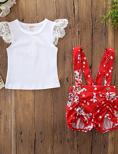 ทารก เด็กผู้หญิง ซึ่งทำงานอยู่ / พื้นฐาน ลายดอกไม้ รองเท้าผูกเชือก / ลายพิมพ์ เสื้อไม่มีแขน ปกติ ฝ้าย ชุดเสื้อผ้า ขาว / Toddler