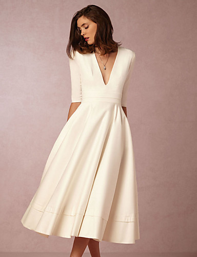 cheap Homecoming Dresses-A-Line Minimalist White Holiday Cocktail Party Dress V Neck Half Sleeve Tea Length Jersey with Pleats 2020