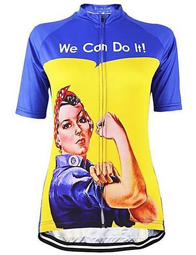 povoljno Odjeća za vožnju biciklom-21Grams Žene Kratkih rukava Biciklistička majica Ljubičasta Zelen Plava Retro Rosie Riveter Veći konfekcijski brojevi Bicikl Biciklistička majica Majice Brdski biciklizam biciklom na cesti