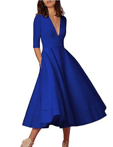 levne Šaty pro slavnostní příležitosti-A-Linie Hluboký výstřih K lýtkům Úplet Šaty s podle LAN TING Express
