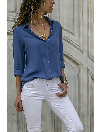 billige Dametopper-Skjortekrage Bluse Dame - Ensfarget Grå