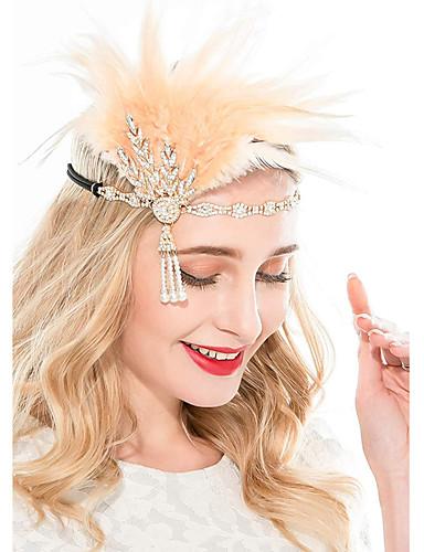 povoljno Maske i kostimi-Čarlston Vintage 1920s Gatsby Traka za kosu u stilu 20-ih Žene Kostim Crn / Zlatan / Srebrna Vintage Cosplay Festival