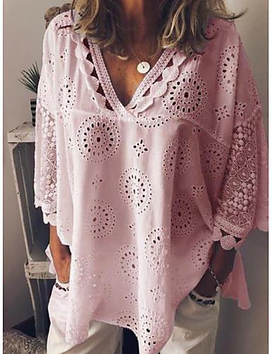 billige Dametopper-Løstsittende V-hals Store størrelser Skjorte Dame - Ensfarget, Blonde Hvit
