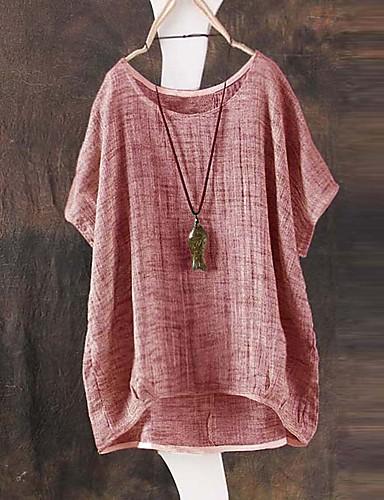 billige T-skjorter til damer-Løstsittende T-skjorte Dame - Ensfarget Grønn