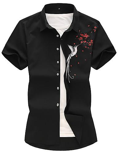 voordelige Herenoverhemden-Heren Grote maten - Overhemd Bloemen / dier Opstaande boord Wit / Korte mouw