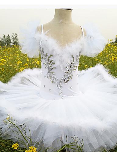 cheap Ballet Dancewear-Kids' Dancewear Ballet Dress Feathers / Fur Glitter Crystals / Rhinestones Girls' Training Performance Spandex
