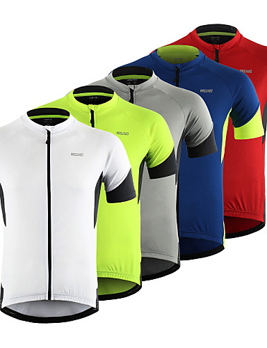 cheap Cycling Jerseys-Arsuxeo Men's Short Sleeve Cycling Jersey Red Grey Green Patchwork Bike Top Mountain Bike MTB Road Bike Cycling Breathable Moisture Wicking Reflective Strips Sports Clothing Apparel / Stretchy