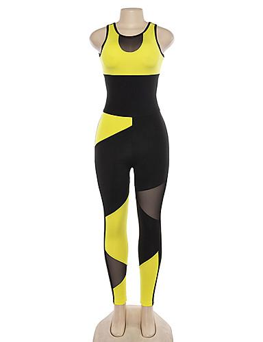 povoljno Odjeća za fitness, trčanje i jogu-Žene Kombinezon Kombinezon za vježbanje Color block Mrežica Yoga Trčanje Fitness Kombinezon Bez rukávů Odjeća za rekreaciju Mala težina Prozračnost Quick dry Izzadás-elvezető Rastezljivo