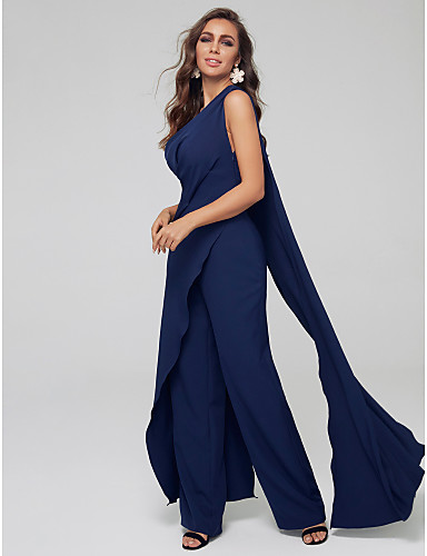 cheap Mother of the Bride Dresses-Pantsuit / Jumpsuit Mother of the Bride Dress Sexy Plus Size One Shoulder Sweep / Brush Train Spandex Sleeveless with Pleats 2020