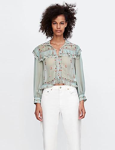 billige Skjorter til damer-Skjorte Dame - Blomstret, Drapering / Broderi Bohem Lysegrønn