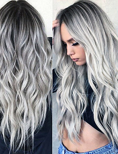 cheap New Arrivals-Synthetic Wig Curly Middle Part Wig Long Grey Synthetic Hair 24 inch Women's Fashionable Design Women Synthetic Dark Gray