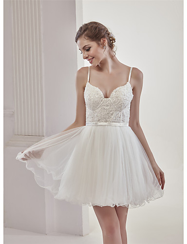 19400 A Line Sweetheart Neckline Short Mini Lace Tulle Made To Measure Wedding Dresses With Beading Appliques Lace By Angelag