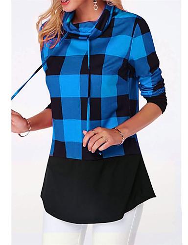 billige Dametopper-Bomull T-skjorte Dame - Geometrisk / Rutet / Grafisk, Lapper / Trykt mønster Bohem / Punk & Gotisk Blå XXXL