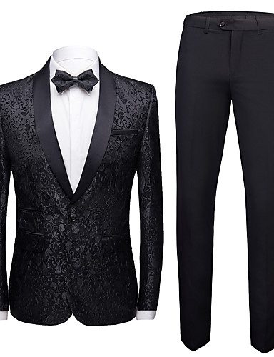 cheap Tuxedos & Suits-Tuxedos Standard Fit Shawl Collar Single Breasted One-button Polyester Flocking