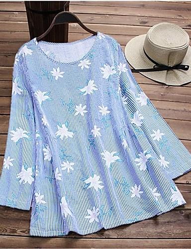 billige T-skjorter til damer-T-skjorte Dame - Stripet / Blomstret, Lapper / Trykt mønster Rosa