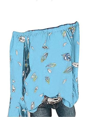 billige Dametopper-Løstsittende Løse skuldre Skjorte Dame - Grafisk, Lapper / Trykt mønster Hvit