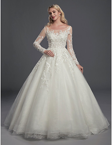 cheap Wedding Dresses-Ball Gown Scoop Neck Court Train Lace / Tulle Long Sleeve Romantic / Glamorous See-Through / Illusion Sleeve Wedding Dresses with Buttons / Appliques 2020