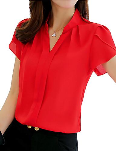 billige Skjorter til damer-Skjortekrage Skjorte Dame - Ensfarget Hvit