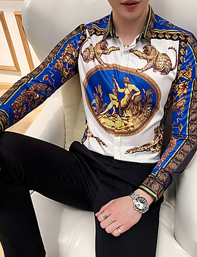 levne Pánské košile-Pánské - Zvíře / Etno EU / US velikost Košile, Tisk Vodní modrá / Dlouhý rukáv