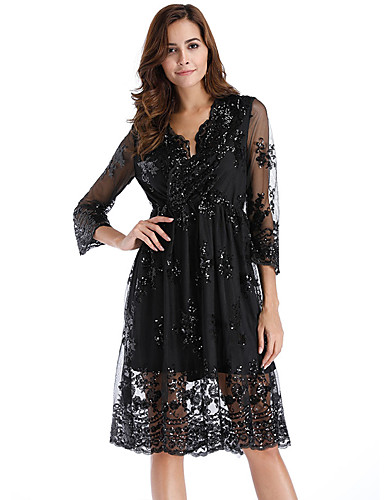 Damen Anspruchsvoll Elegant A-Linie Hülle Chiffon Kleid ...