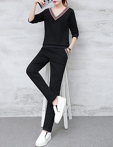 billige Todelt dress til damer-Dame Grunnleggende Sett Bukse Ensfarget V-hals