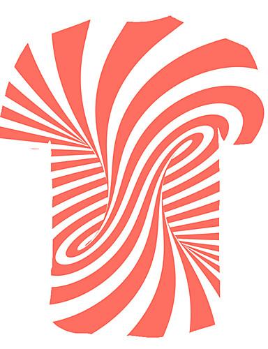levne Pánská tílka-Pánské - Proužky / 3D Tričko, Tisk Kulatý Oranžová / Krátký rukáv
