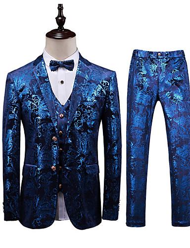 voordelige Herenblazers & kostuums-Heren Grote maten Pakken, Geometrisch Overhemdkraag Polyester Marine Blauw / Slank