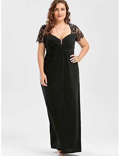preiswerte Damenbekleidung-Damen Grundlegend Elegant Hülle Kleid - Spitze, Solide Maxi